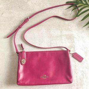 Coach Crosby Magenta Two Pocket Zip Crossbody Bag